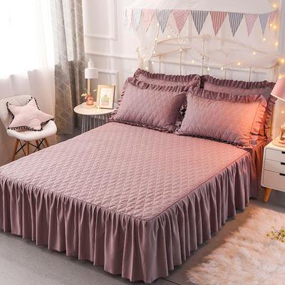 2018新款夹棉床裙三件套 150*200cm 骑士-浅紫