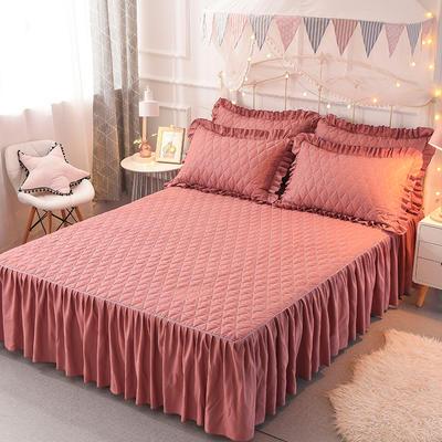 2018新款夹棉床裙三件套 150*200cm 骑士-砖红