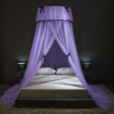 2021新款蝴蝶结圆顶蚊帐 1.2-1.8床 通用 贵气紫