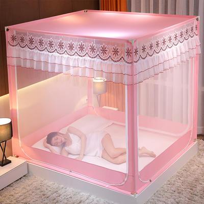 2021新款刺绣款外穿杆坐床式蚊帐 120*200*170 刺绣款-柔美粉