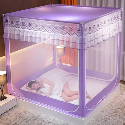 2021新款刺绣款外穿杆坐床式蚊帐 150*200*170 刺绣款-紫罗兰