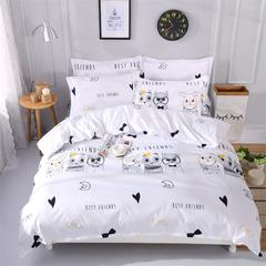 (总)梦先生家纺 小清新植物纤维磨毛四件套 1.2m(4英尺)床 浪漫森林