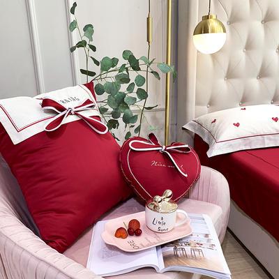 60s长绒棉四件套-爱心红 1.8m(6英尺)床 小抱枕一个(含芯)