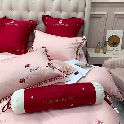 60s长绒棉四件套-冬日雪人 1.8m(6英尺)床 小抱枕一个(含芯)