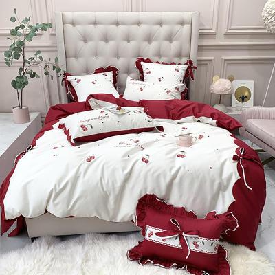 长绒棉四件套-红樱桃 1.8m(6英尺)床 红樱桃