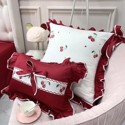 长绒棉四件套-红樱桃 1.8m(6英尺)床 大靠垫(不含芯)