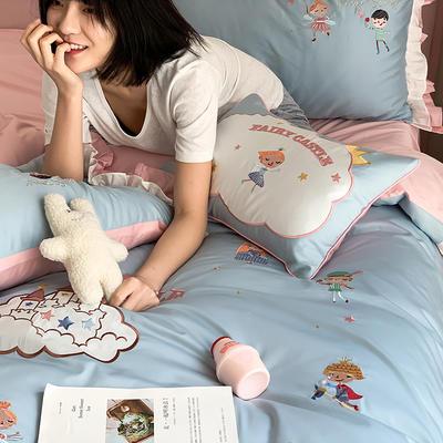 长绒棉四件套-童话王国 1.8m(6英尺)床 小抱枕一个(含芯)