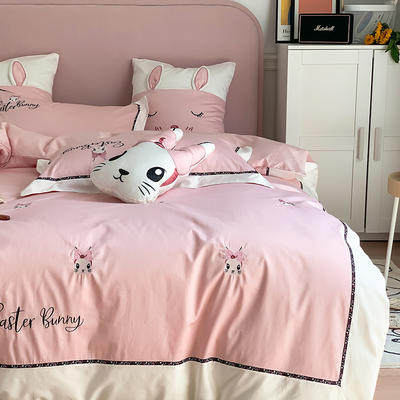 长绒棉四件套-小兔珍妮 1.8m(6英尺)床 小兔珍妮-粉大靠垫