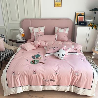 长绒棉四件套-小兔珍妮 1.8m(6英尺)床 小兔珍妮-粉