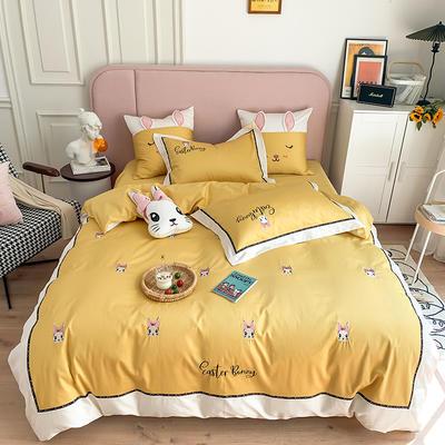 长绒棉四件套-小兔珍妮 1.8m(6英尺)床 小兔珍妮-黄