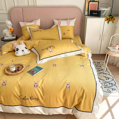 长绒棉四件套-小兔珍妮 1.8m(6英尺)床 小兔珍妮-黄大靠垫