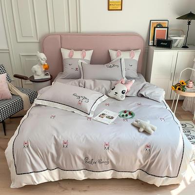 长绒棉四件套-小兔珍妮 1.8m(6英尺)床 小兔珍妮-灰