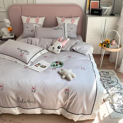 长绒棉四件套-小兔珍妮 1.8m(6英尺)床 小兔珍妮-灰大靠垫