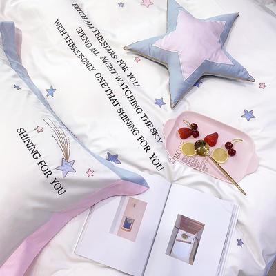 长绒棉四件套-星光 1.8m(6英尺)床 小抱枕一个(含芯)