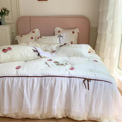 天丝四件套-甜心草莓 1.8m(6英尺)床 甜心草莓-白