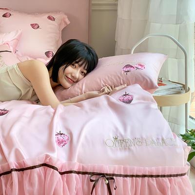 天丝四件套-甜心草莓 1.8m(6英尺)床 甜心草莓-粉
