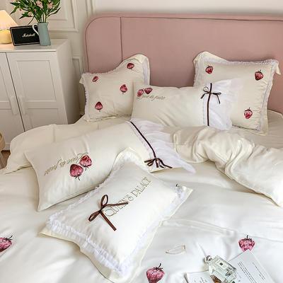 天丝四件套-甜心草莓 1.8m(6英尺)床 大靠垫一对(不含芯)
