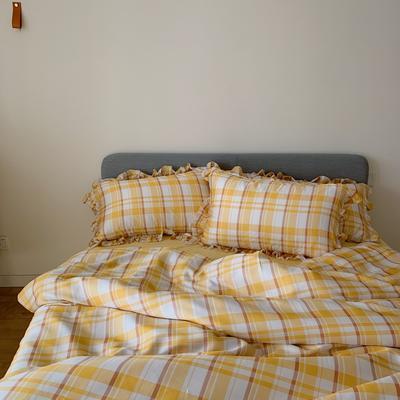 2020新款天丝格子系列四件套 1.5m(5英尺)床单款四件套 芒果沙沙