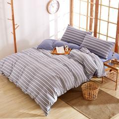 水洗棉格子条纹系列四件套 1.8m(6英尺)床 格调蓝