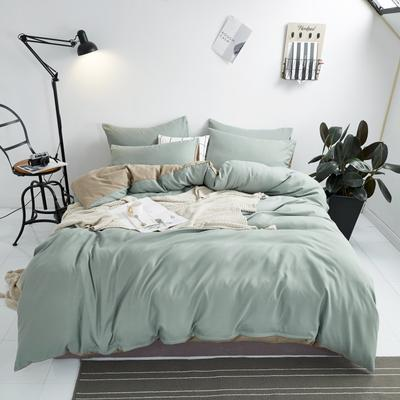 2020新款-不起球加厚水洗绒四件套 被套加大1.8m(6英尺)床 暗似黛绿