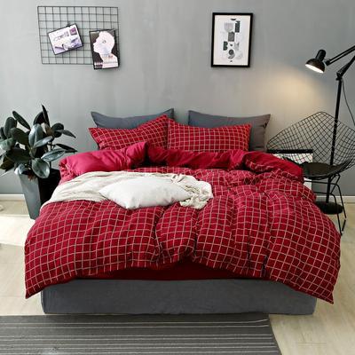 2020新款-不起球加厚水洗绒四件套 被套加大1.8m(6英尺)床 红妆相思