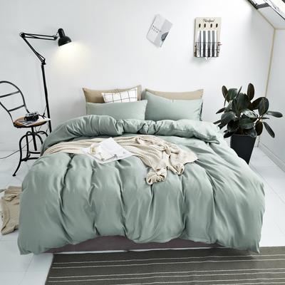 2020新款-不起球加厚水洗绒四件套 被套加大1.8m(6英尺)床 抹茶绿