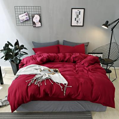 2019新款-不起球加厚水洗绒四件套 被套加大1.8m(6英尺)床 胭脂红