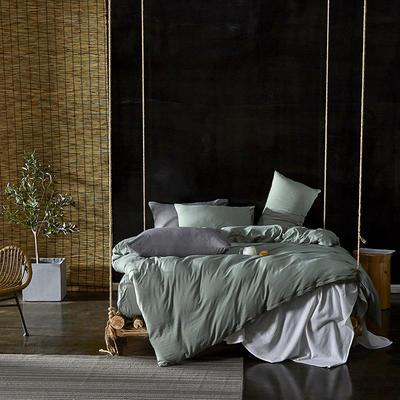 2020新款-水洗棉纯色系列四件套 三件套1.2m(4英尺)床 古绿