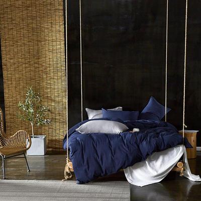 2020新款-水洗棉纯色系列四件套 三件套1.2m(4英尺)床 湛蓝