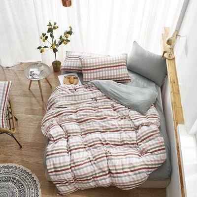2019新款-水洗棉格子条纹系列四件套 三件套1.2m(4英尺)床 巴宝格