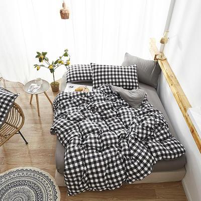 2019新款-水洗棉格子条纹系列四件套 三件套1.2m(4英尺)床 大黑格
