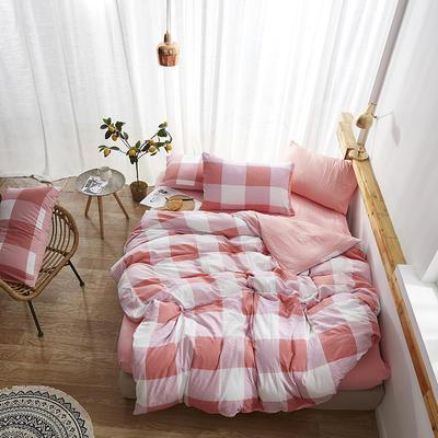 2019新款-水洗棉格子条纹系列四件套 三件套1.2m(4英尺)床 粉格格