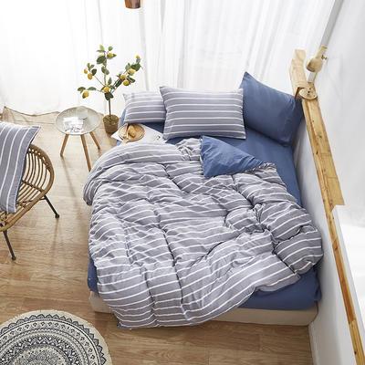 2019新款-水洗棉格子条纹系列四件套 三件套1.2m(4英尺)床 格调蓝