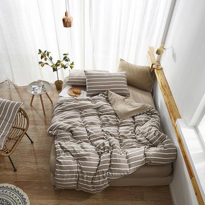 2019新款-水洗棉格子条纹系列四件套 三件套1.2m(4英尺)床 格调驼