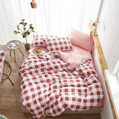 2019新款-水洗棉格子条纹系列四件套 三件套1.2m(4英尺)床 红豆情