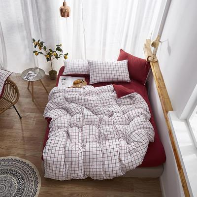 2020新款-水洗棉格子条纹系列四件套 三件套1.2m(4英尺)床 红磨坊