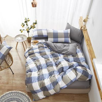 2019新款-水洗棉格子条纹系列四件套 三件套1.2m(4英尺)床 蓝格格