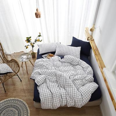 2019新款-水洗棉格子条纹系列四件套 三件套1.2m(4英尺)床 蓝磨坊