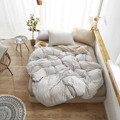 2019新款-水洗棉格子条纹系列四件套 三件套1.2m(4英尺)床 马克