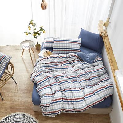 2019新款-水洗棉格子条纹系列四件套 三件套1.2m(4英尺)床 米兰