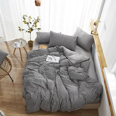 2020新款-水洗棉格子条纹系列四件套 三件套1.2m(4英尺)床 小黑格
