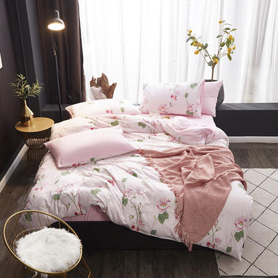 2020新款-网红ing 水洗棉四件套 三件套1.2m(4英尺)床 宠柳娇花