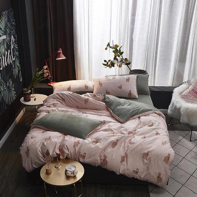 2019新款-网红ing 水洗棉四件套 三件套1.2m(4英尺)床 羊驼-草泥马