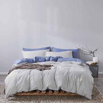 2020新款-美棉四件套 床单款四件套0.9m床-1.2m床 白条-蓝