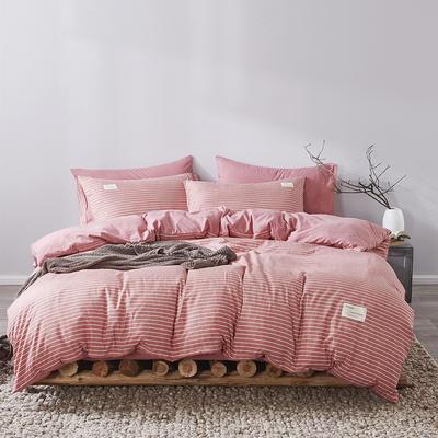 2020新款-美棉四件套 床单款四件套0.9m床-1.2m床 豆沙条