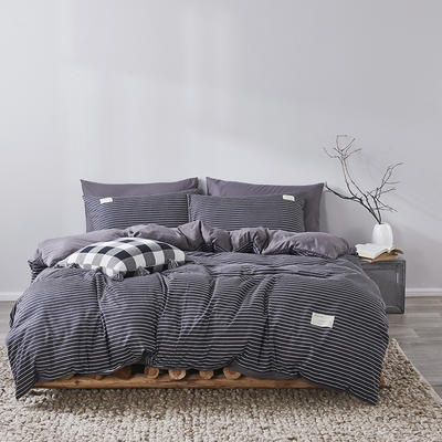 2020新款-美棉四件套 床单款四件套1.5m(5英尺)床 黑条-灰