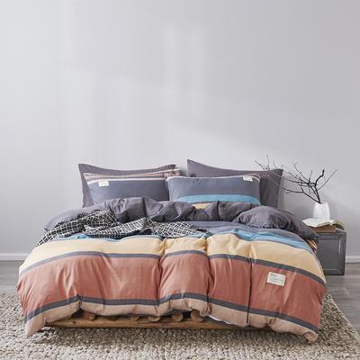 2020新款-美棉四件套 床单款四件套0.9m床-1.2m床 灰彩条