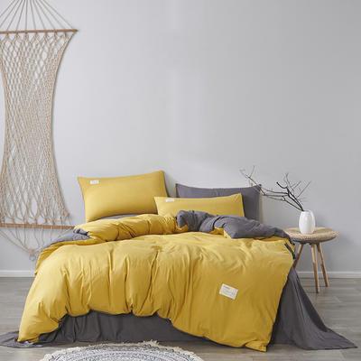2020新款-美棉四件套 床单款四件套0.9m床-1.2m床 姜黄+灰