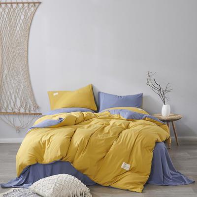 2020新款-美棉四件套 床单款四件套0.9m床-1.2m床 姜黄+蓝