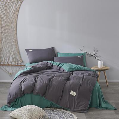 2020新款-美棉四件套 床单款四件套1.5m(5英尺)床 墨绿+灰